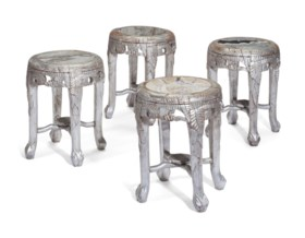 AN SET OF FOUR INDIAN SILVERED-HARDWOOD AND MARBLE INSET STO