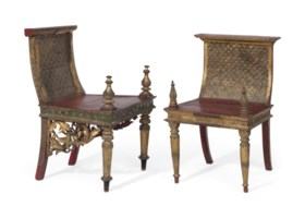 TWO INDIAN GILT-GESSO, APPLIED SEQUIN AND RED-PAINTED SIDE C