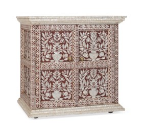 AN INDIAN MOTHER-OF-PEARL INLAID AND RED-PAINTED SIDE CABINE