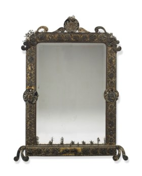 A JEWEL-MOUNTED AND SILVER FILIGREE MIRROR