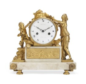 A LATE LOUIS XV ORMOLU AND MARBLE MANTEL CLOCK