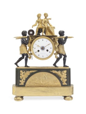 A RESTAURATION ORMOLU AND PATINATED-BRONZE FIGURAL MANTEL CLOCK