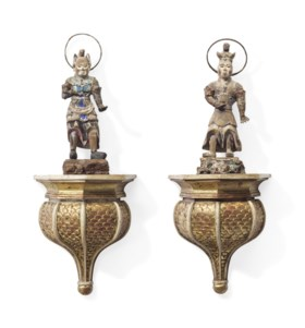 A PAIR OF JAPANESE POLYCHROME-PAINTED CARVED WOOD FIGURES OF