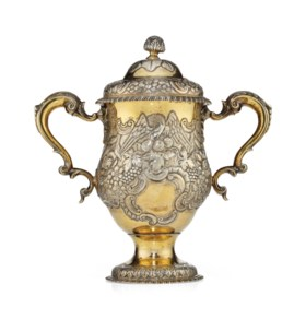 A GEORGE II IRISH SILVER-GILT TWO-HANDLED CUP AND COVER, DUB