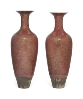 A PAIR OF CHINESE PEACHBLOOM-GLAZED AMPHORA VASES, LIUYE ZUN