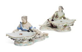 A PAIR OF MEISSEN PORCELAIN FIGURAL SWEETMEATS