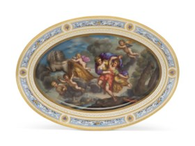 A VIENNA PORCELAIN (LATER-DECORATED) OVAL PLATTER