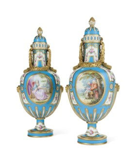 A PAIR OF MINTON TURQUOISE-GROUND VASES AND COVERS