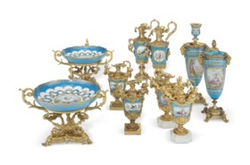 A GROUP OF ORMOLU-MOUNTED SEVRES STYLE PORCELAIN TURQUOISE-G