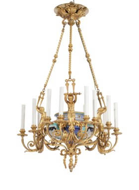 A FRENCH ORMOLU AND PORCELAIN TWELVE-LIGHT CHANDELIER