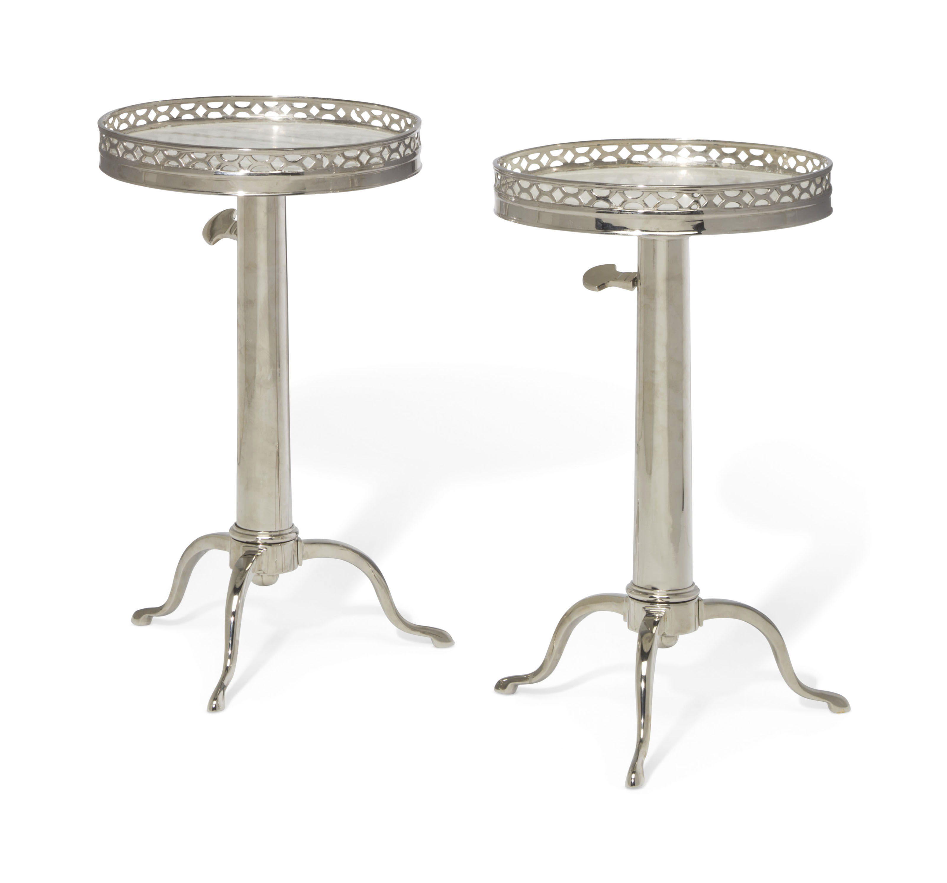 A PAIR OF FRENCH SILVERED-METAL TELESCOPING TABLES