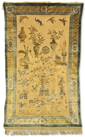 A SILK AND METAL THREAD CHINESE RUG