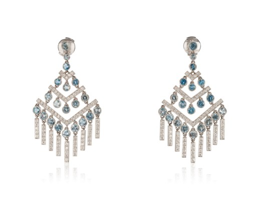 Aquamarine And Diamond Chandelier Earrings