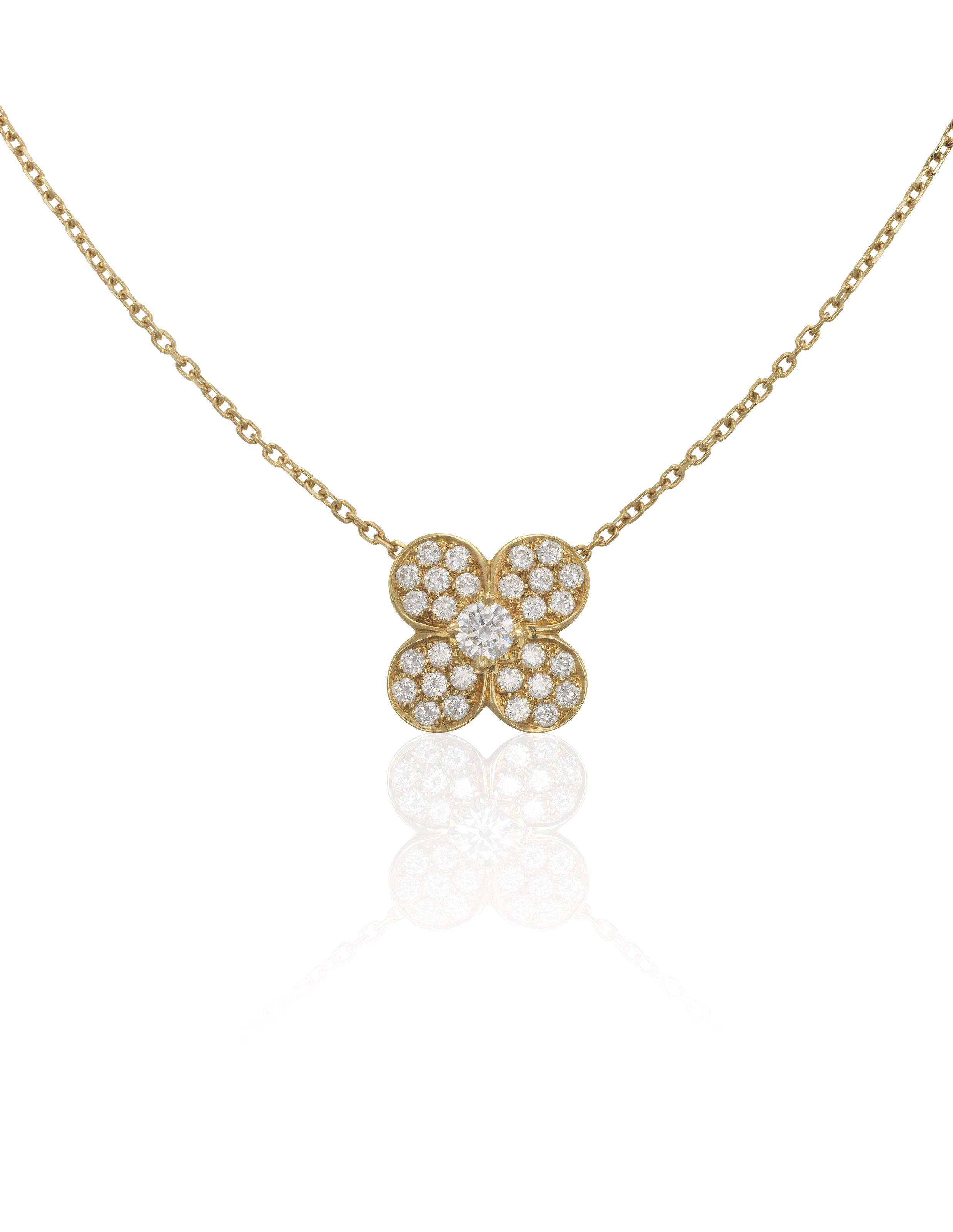Van cleef arpels trfle diamond set pendant necklace christies van cleef arpels trfle diamond set pendant necklace aloadofball Image collections