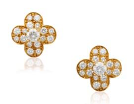 Van Cleef Arpels TrÉfle Diamond Set Earrings