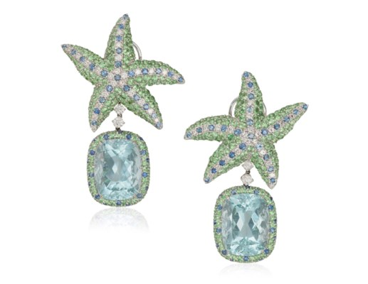 Diamond Aquamarine And Gem Set Starfish Earrings