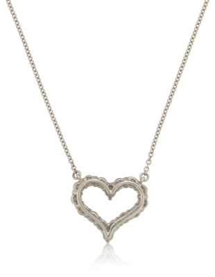 TIFFANY & CO. PLATINUM AND DIAMOND HEART NECKLACE