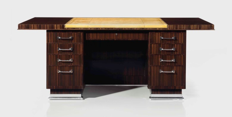 Emile-Jacques Ruhlmann (1879-1933), a Granet  desk, circa 1930. 29¾  in (75.6  cm) high, 75½  in (191.8  cm) wide, 37¼  in (94.6  cm) deep. Estimate $150,000-250,000. Offered in Design on 20 June 2018 at Christie's in New York