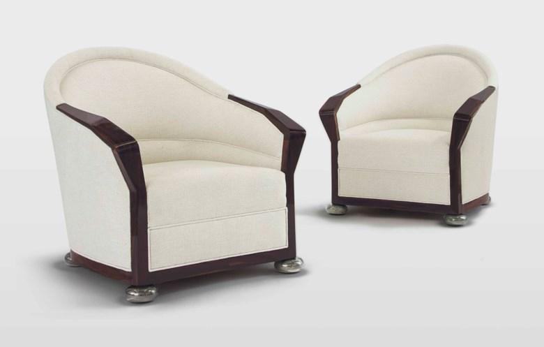 Pierre Chareau (1883-1950), a pair of armchairs from the Grand Hôtel de Tours, circa 1924. 40½  in (102.9  cm) high. Estimate $200,000-300,000. Offered in Design on 20 June 2018 at Christie's in New York