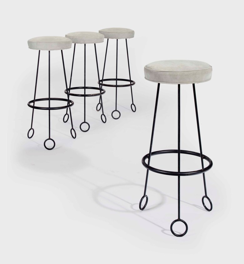 Jean Royère (1902-1981), A set of four 'Yo-Yo' bar stools, 1950s. 30½  in (77.5  cm) high, each. Estimate $60,000-80,000. Offered in Design on 20 June 2018 at Christie's in New York