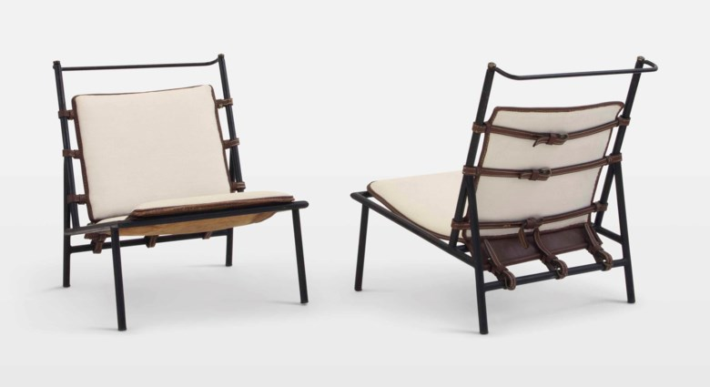 Jacques Adnet (1900-1984), a pair of lounge chairs, circa 1950. 27  in (68.6  cm) high. Estimate $12,000-18,000. Offered in Design on 20 June 2018 at Christie's in New York