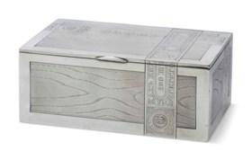 A RUSSIAN SILVER-GILT TROMPE L'OEIL CIGAR BOX