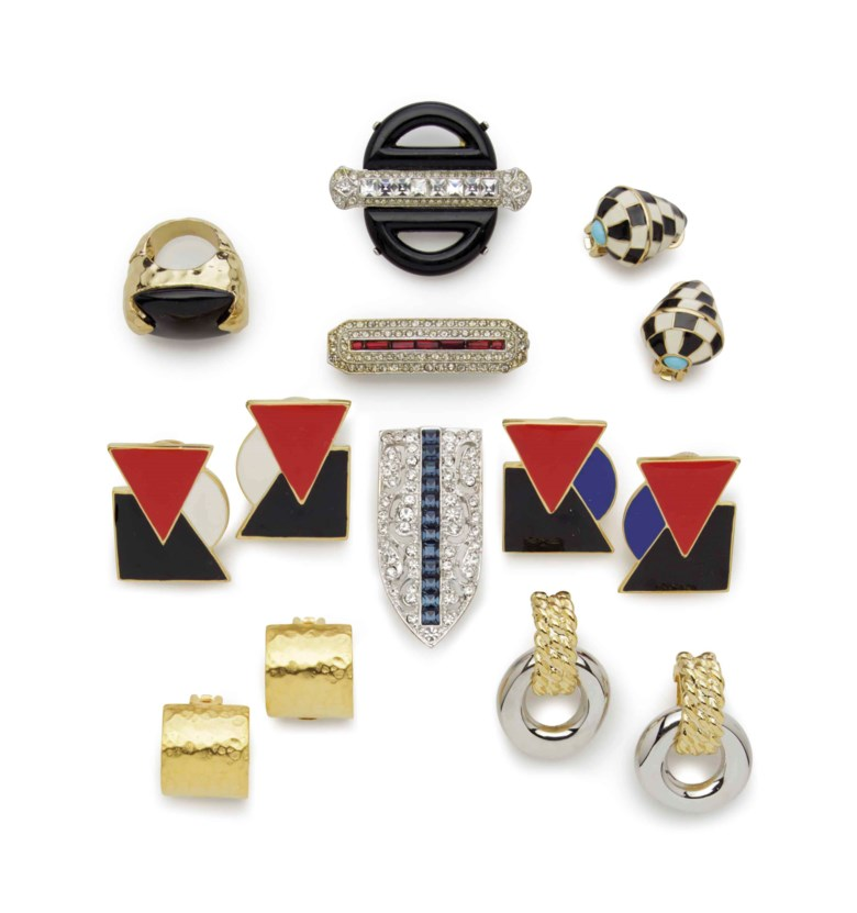 A group of Art Deco-style fashion jewellery. 2¼  in (5.7  cm) long, the largest brooch. Estimate $300-500. Offered in Interiors New York Visions on 6 June at Christie's in New York