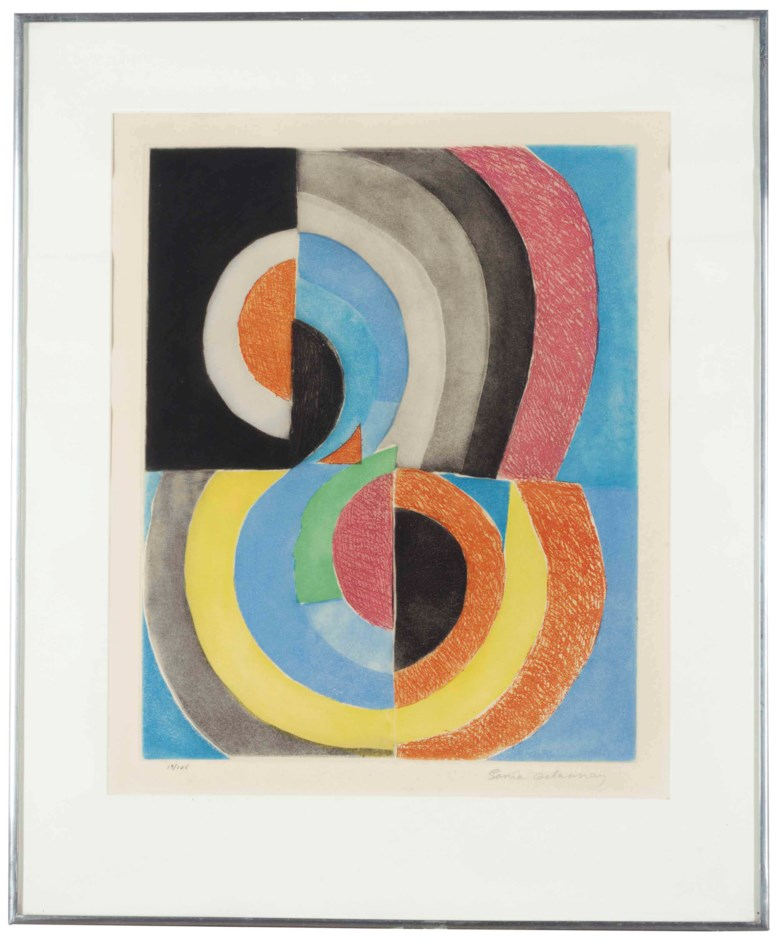 Sonia Delaunay (1884-1979), Untitled (Composition with Semi-Circles). Plate 19½ x 15½  in (49.6 x 39.3  cm). Estimate $1,000-1,500. Offered in Interiors New York Visions on 6 June at Christie's in New York