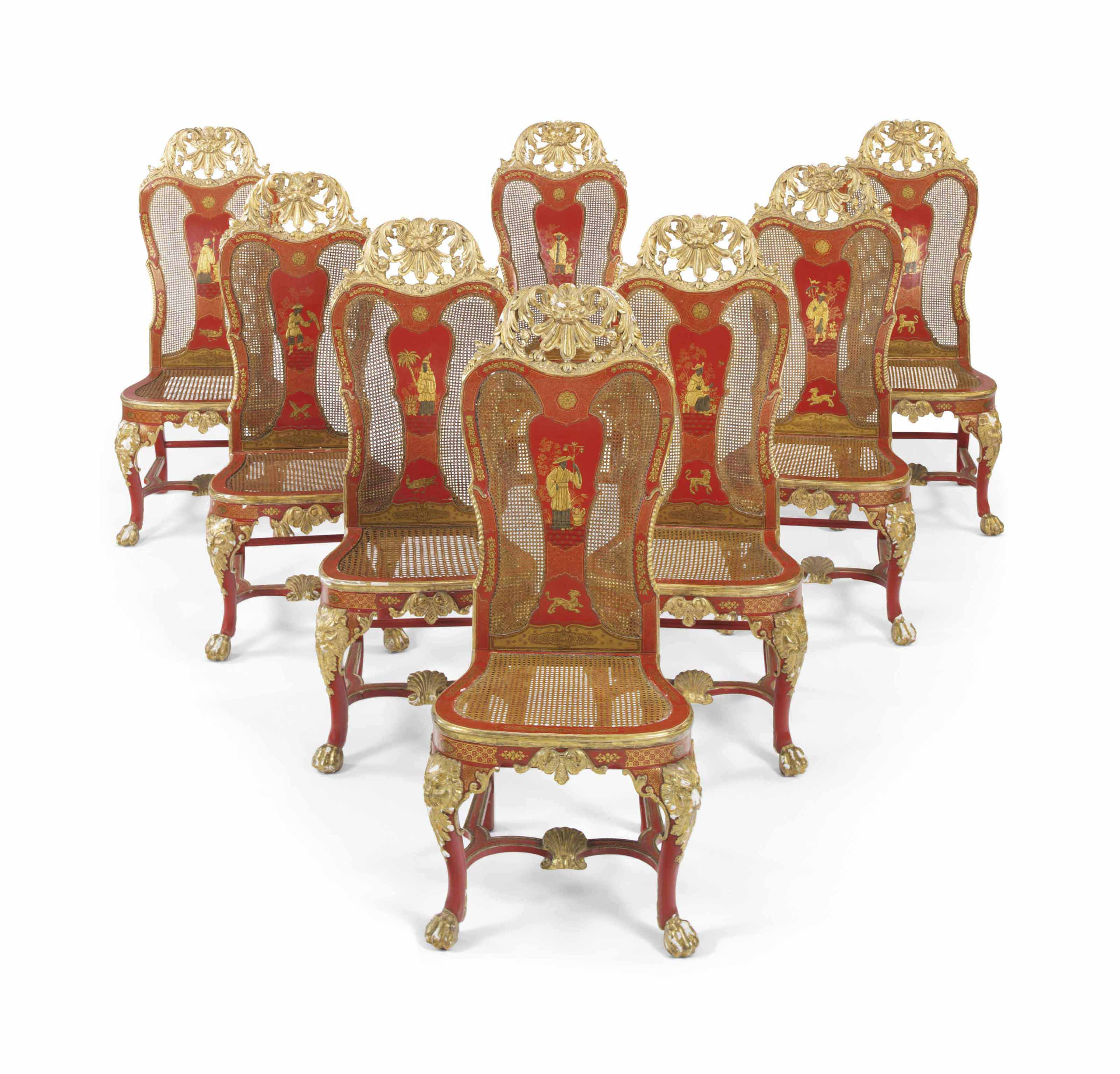 A SET OF EIGHT ITALIAN SCARLET AND GILT-JAPANNED SIDE CHAIRS