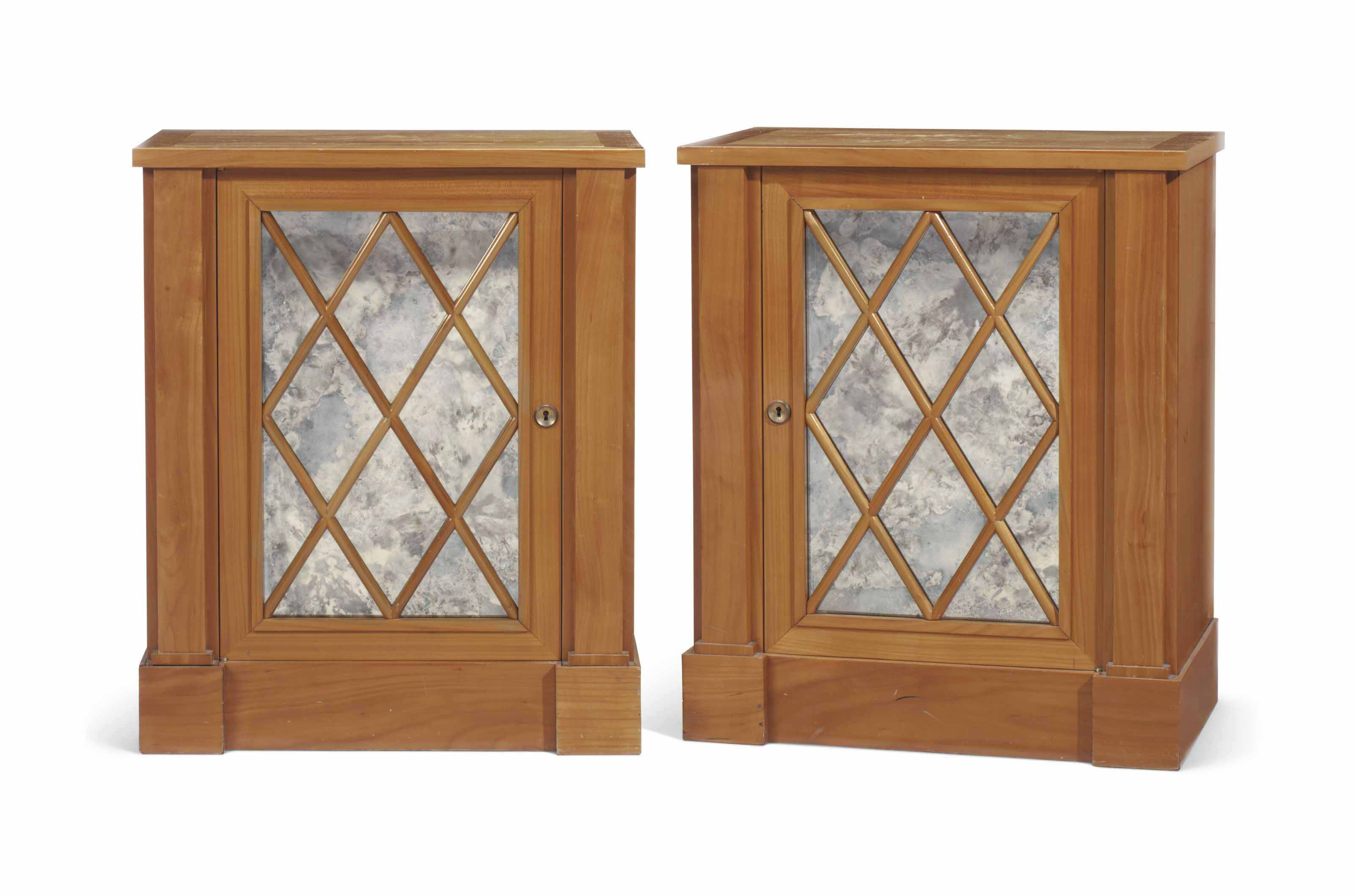 A PAIR OF FRUITWOOD CABINETS