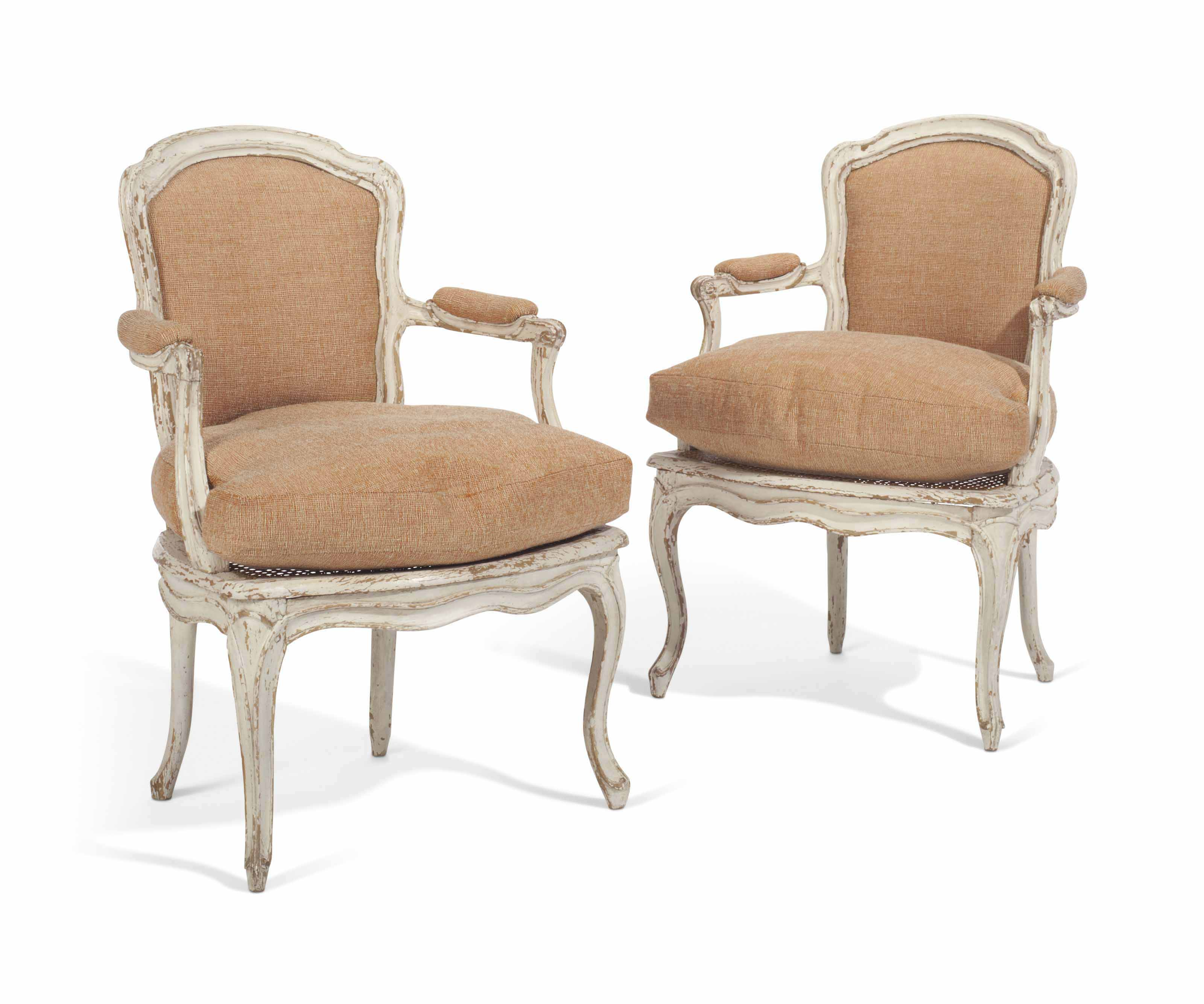 A PAIR OF LOUIS XV WHITE-PAINTED FAUTEUILS