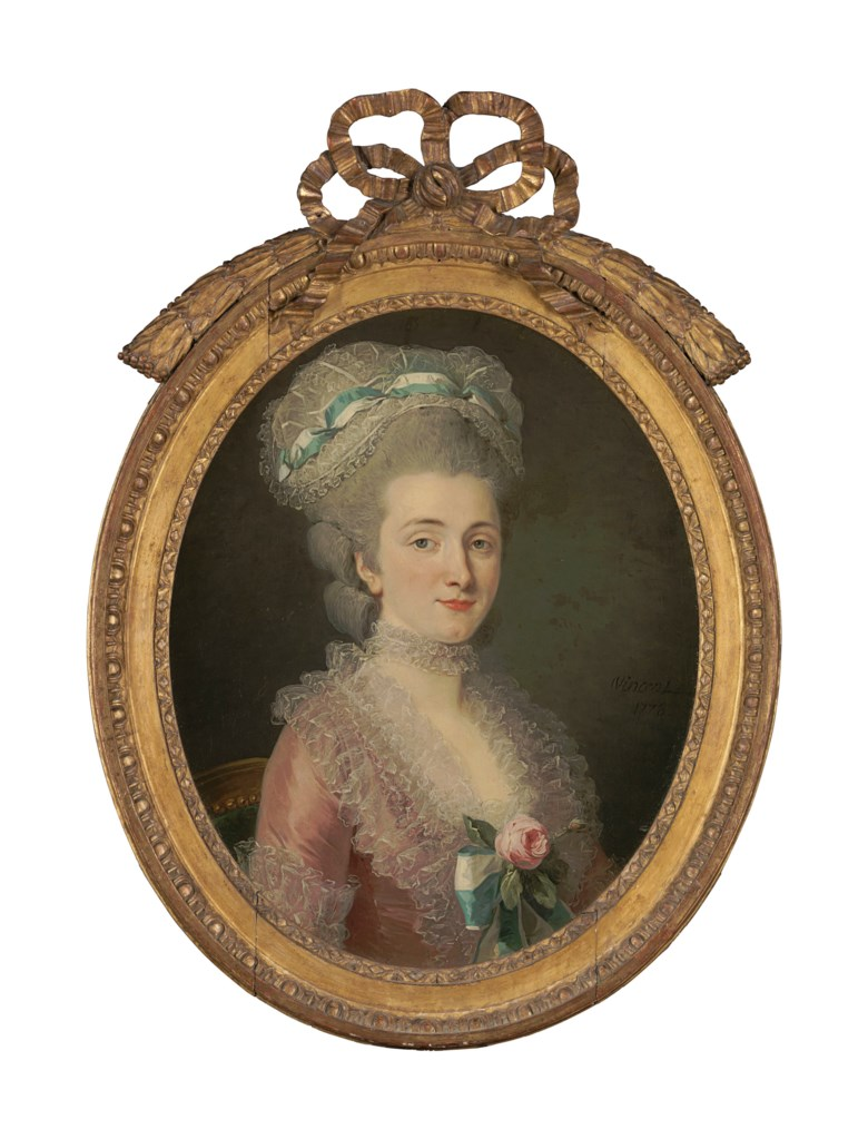 François-André Vincent (Paris 1746-1816), Portrait of a lady in a pink dress, bust-length. Estimate $40,000-60,000. Offered in A Love Affair with France The Collection of Elizabeth Stafford on 1 November at Christie's in New York
