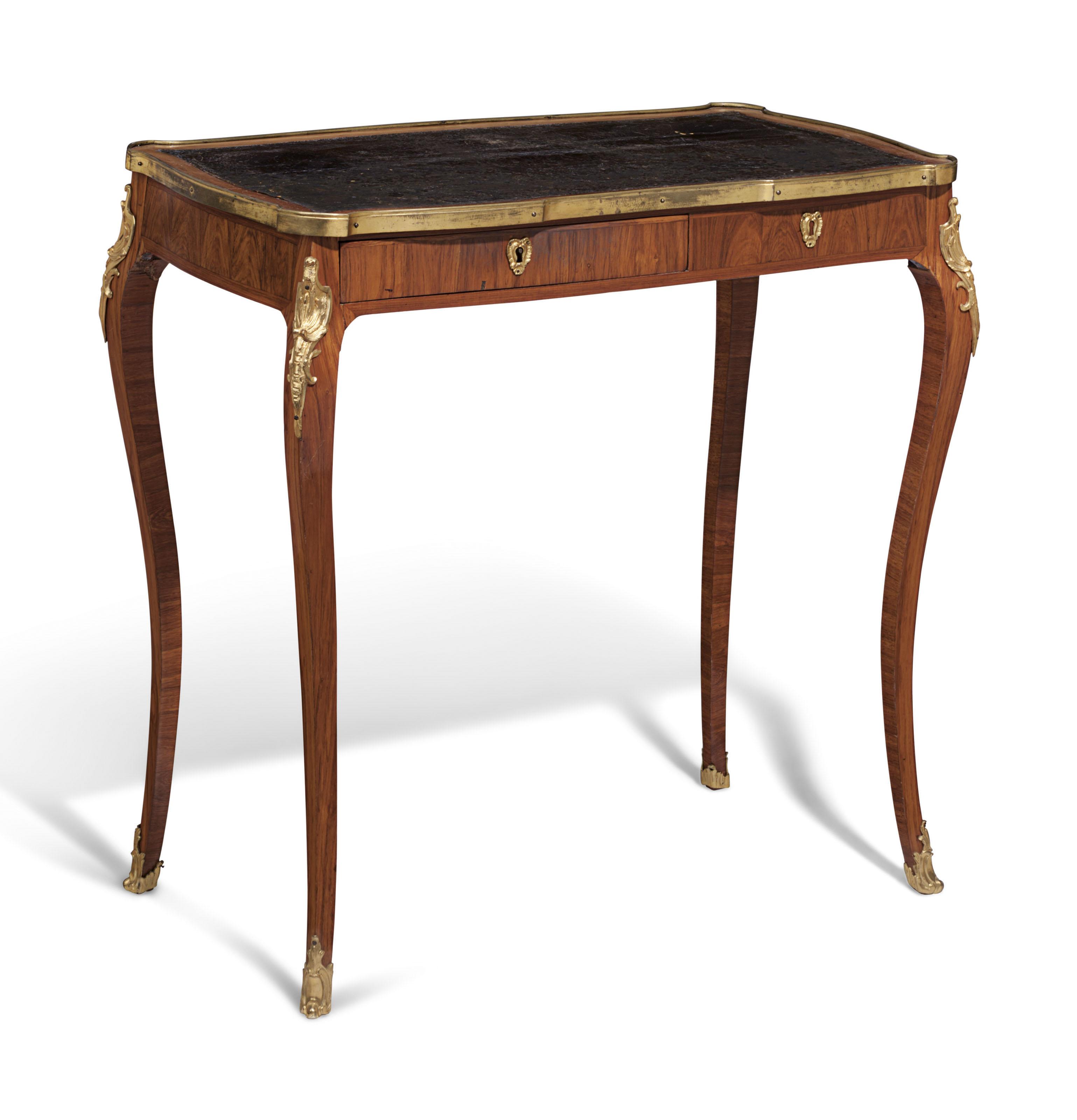 A LATE LOUIS XV ORMOLU-MOUNTED TULIPWOOD TABLE A ECRIRE