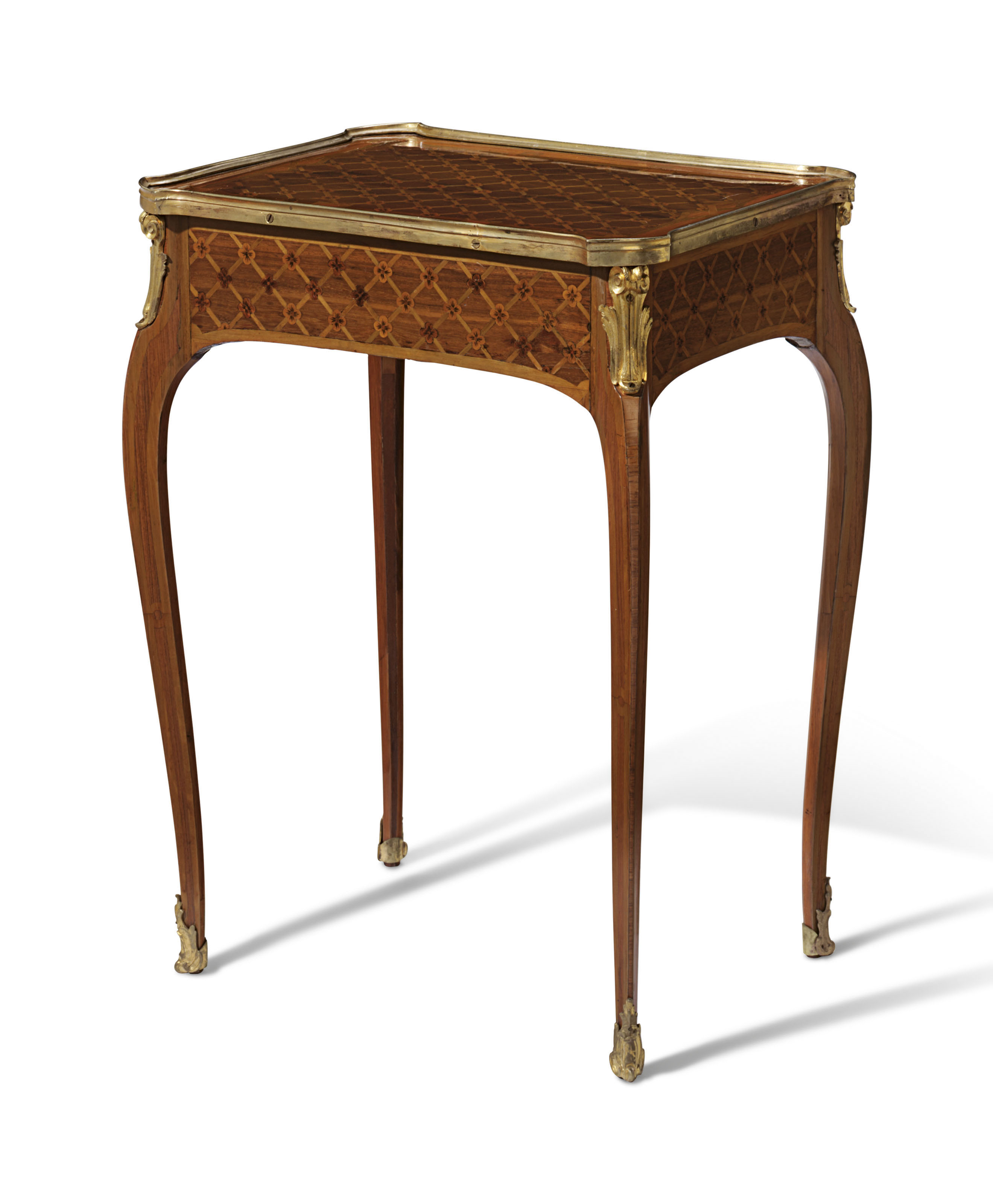 A LATE LOUIS XV ORMOLU-MOUNTED TULIPWOOD AMARANTH AND FRUITWOOD PARQUETRY TABLE EN CHIFFONNIERE