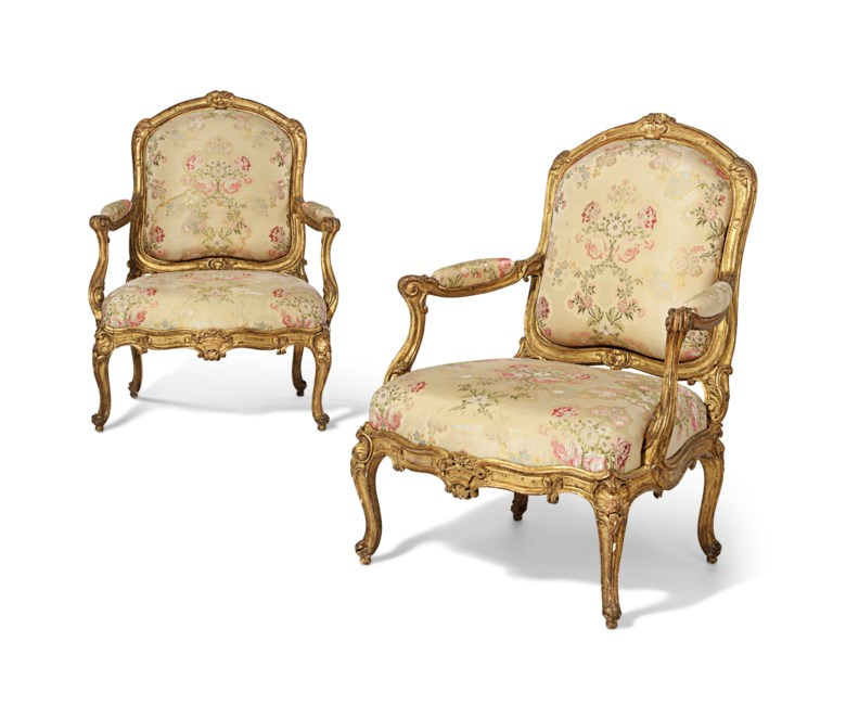 A pair of Louis XV giltwood fauteuils, by Jean-Baptiste Tilliard, circa 1750-55. Estimate $120,000-180,000. Offered in A Love Affair with France The Collection of Elizabeth Stafford on 1 November at Christie's in New York