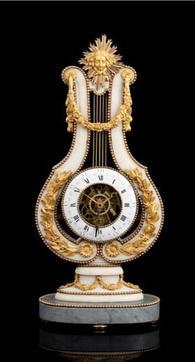 A LOUIS XVI ORMOLU-MOUNTED WHITE AND GREY MARBLE SKELETON CL
