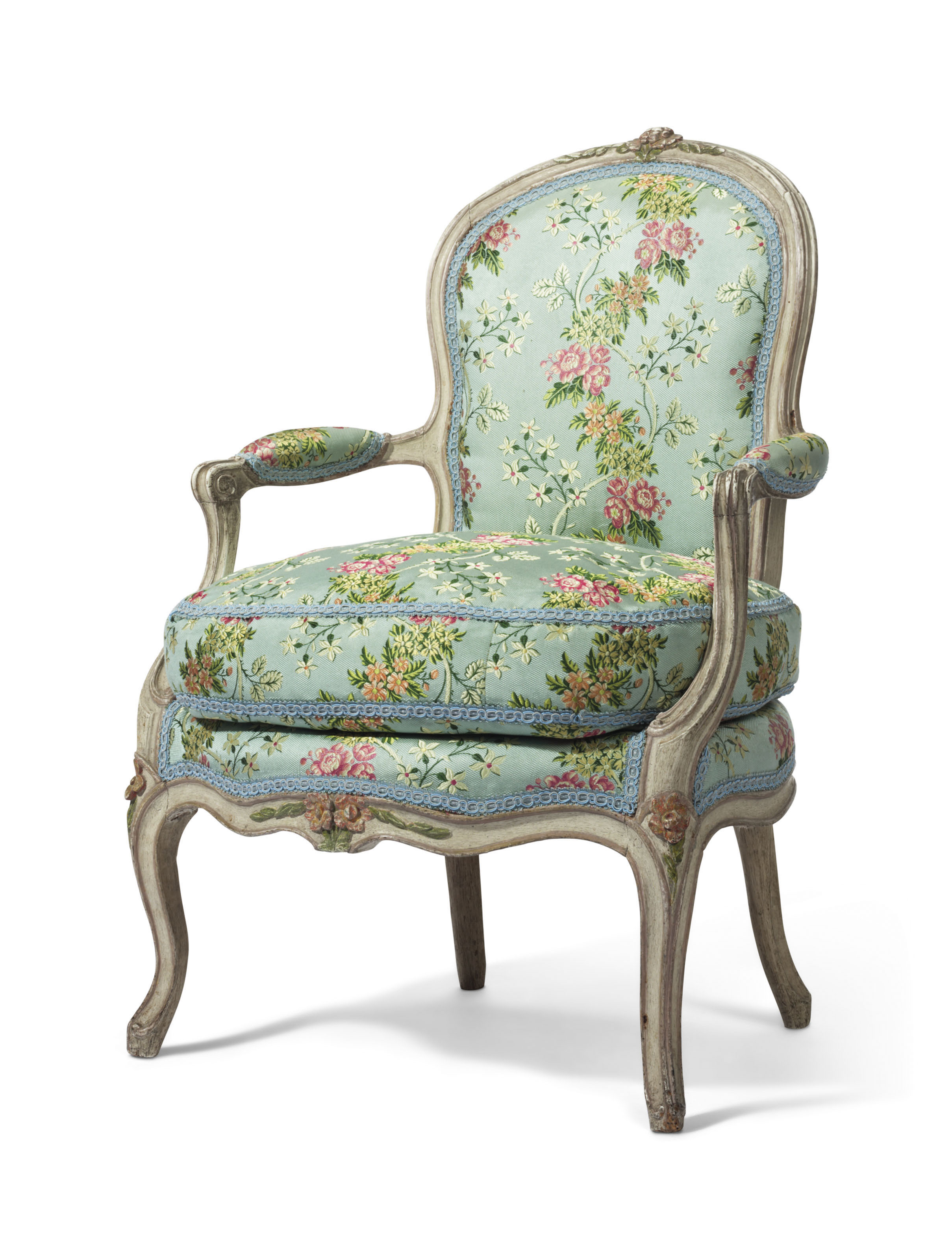 A LATE LOUIS XV GREY AND POLYCHROME-PAINTED FAUTEUIL
