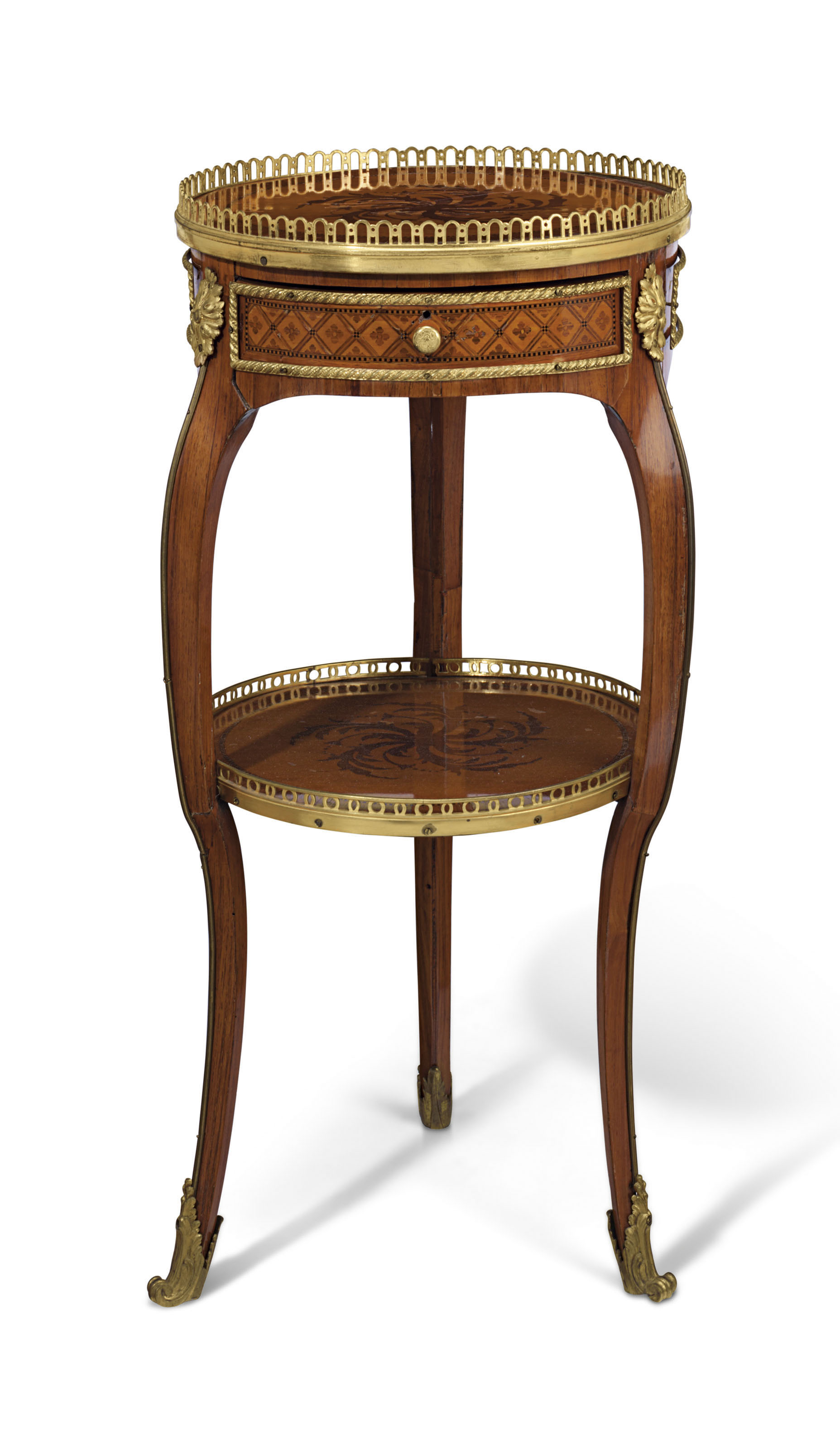 A LATE LOUIS XV ORMOLU-MOUNTED CITRONNIER, TULIPWOOD AND AMARANTH TABLE EN CHIFFONNIERE