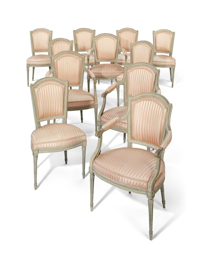 A set of 11 Louis XVI grey and white-painted dining chairs, circa 1780. Estimate $6,000-10,000. Offered in A Love Affair with France The Collection of Elizabeth Stafford on 1 November at Christie's in New York