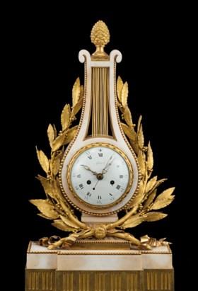 A LOUIS XVI ORMOLU-MOUNTED WHITE MARBLE MANTEL CLOCK