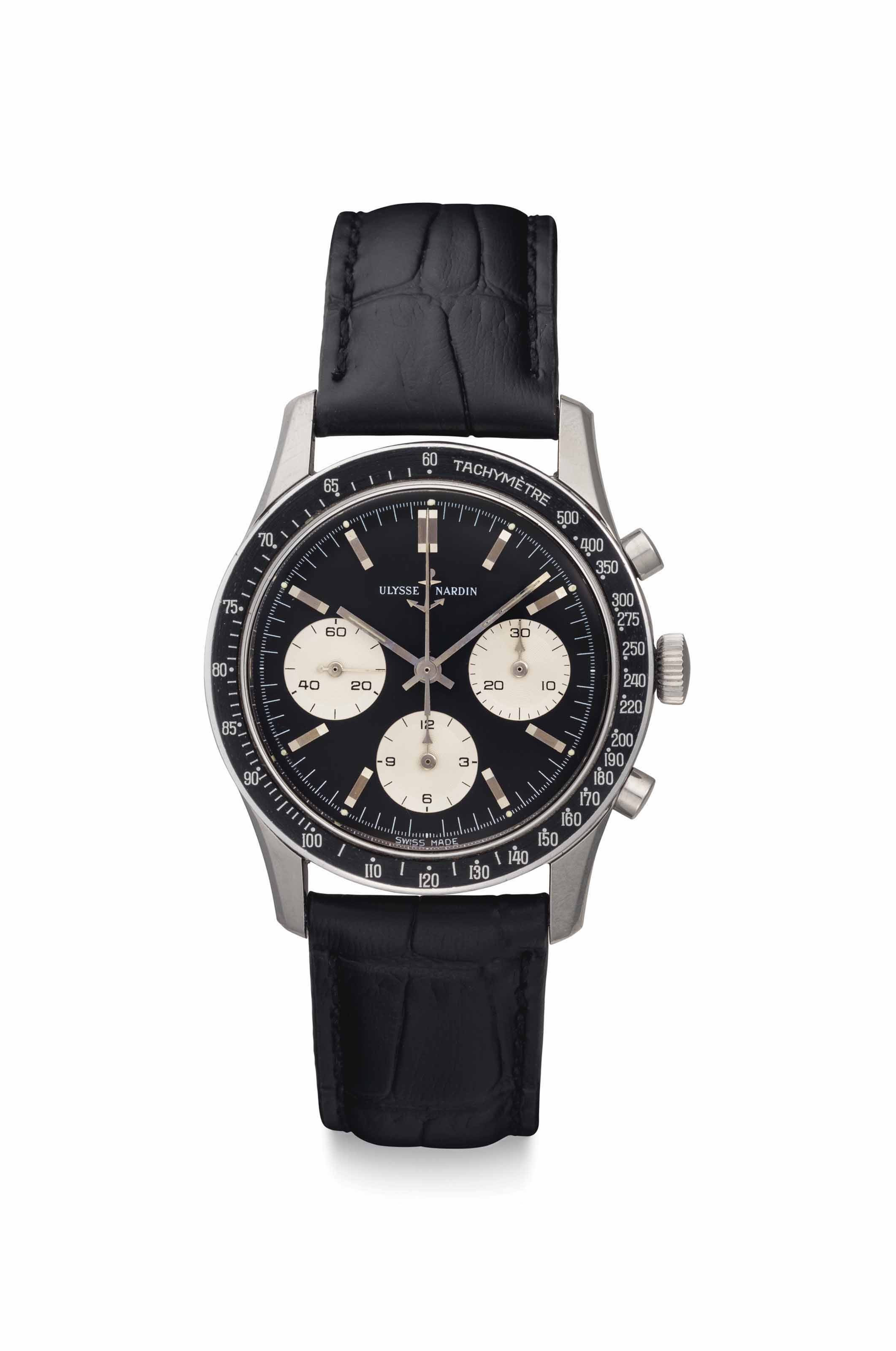 Ulysse Nardin. A Fine and Rare Stainless Steel Chronograph Wristwatch