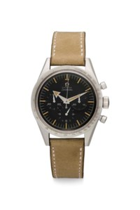 Omega. A Very Fine and Extremely Rare Stainless Steel Chronograph Wristwatch
