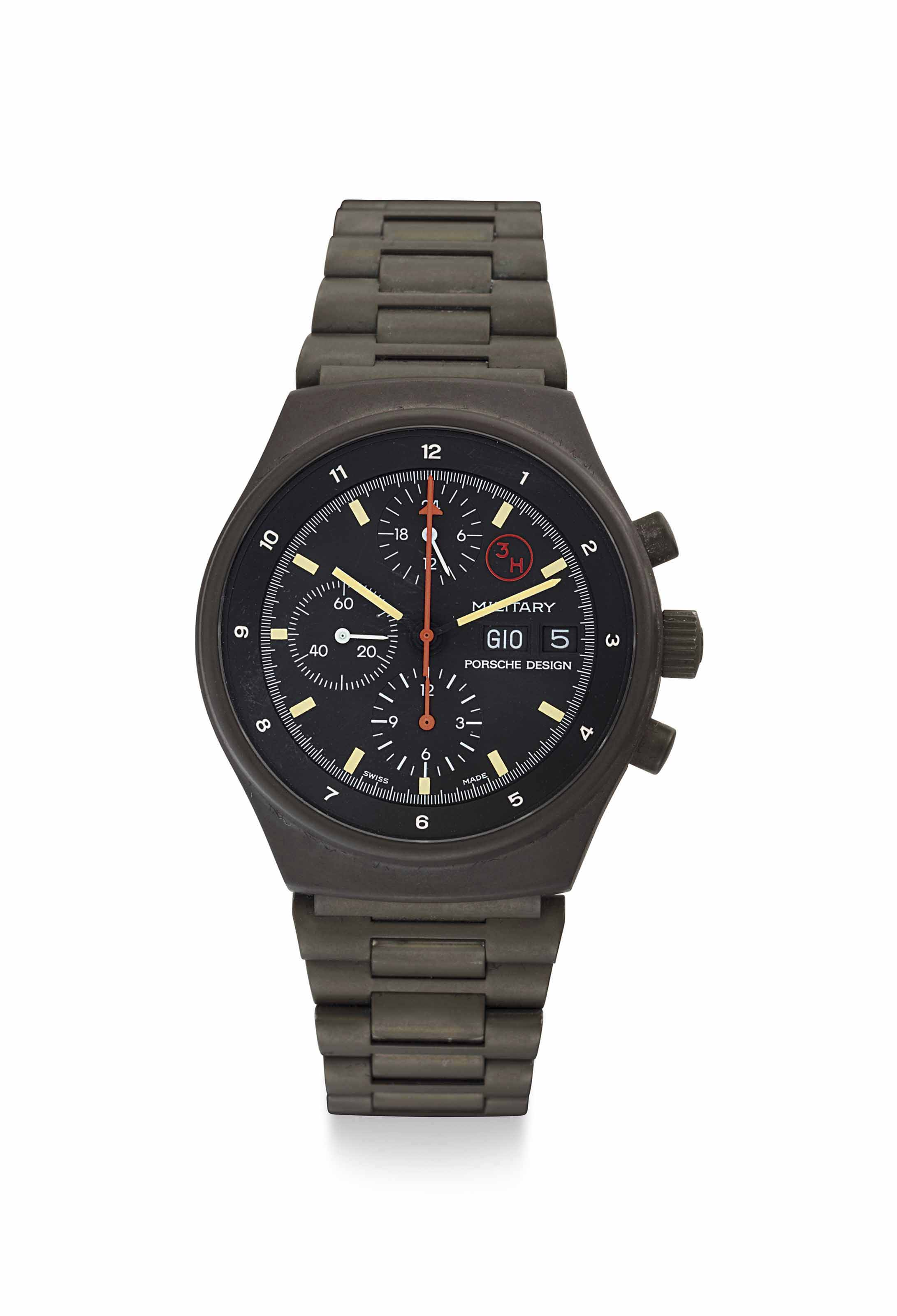 Porsche Design. A Fine Green PVD-Coated Stainless Steel Chronograph Wristwatch with Day, Date and Bracelet