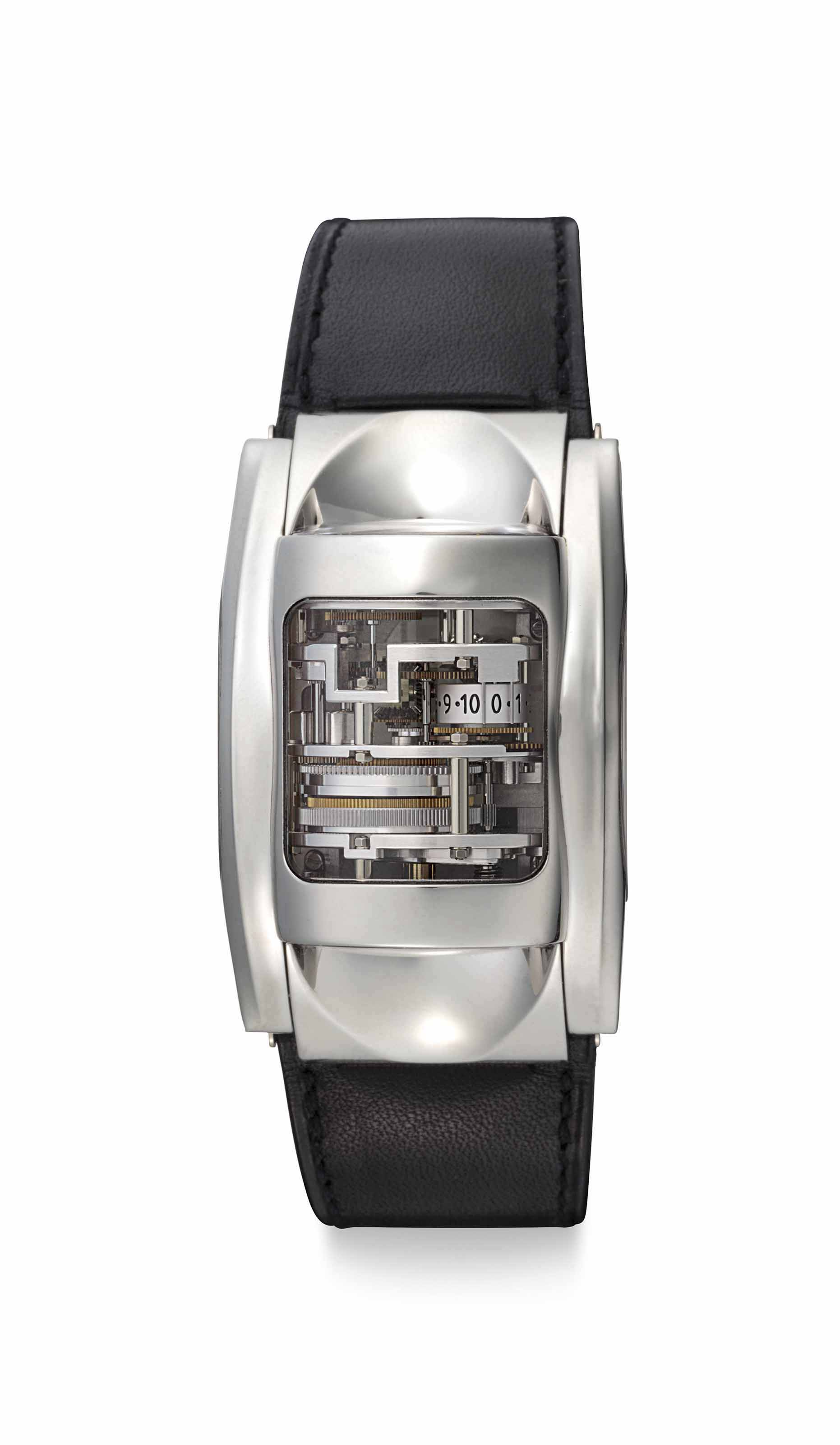 Parmigiani Fleurier. A Very Fine and Very Rare Platinum Cylindrical Wristwatch with 10 Day Power Reserve