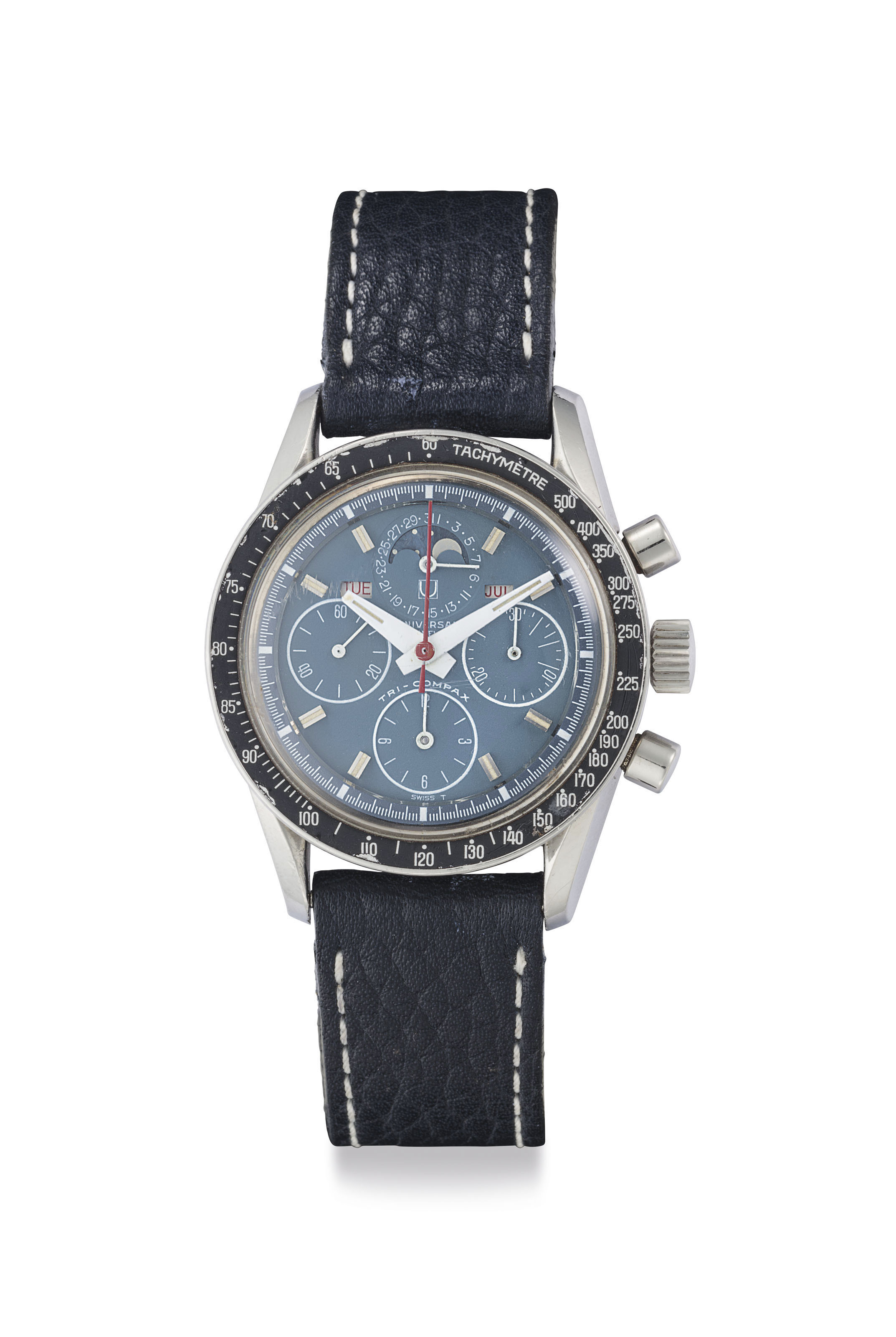 Universal. A Fine Stainless Steel Triple Calendar Chronograph Wristwatch with Blue Dial and Moon Phases