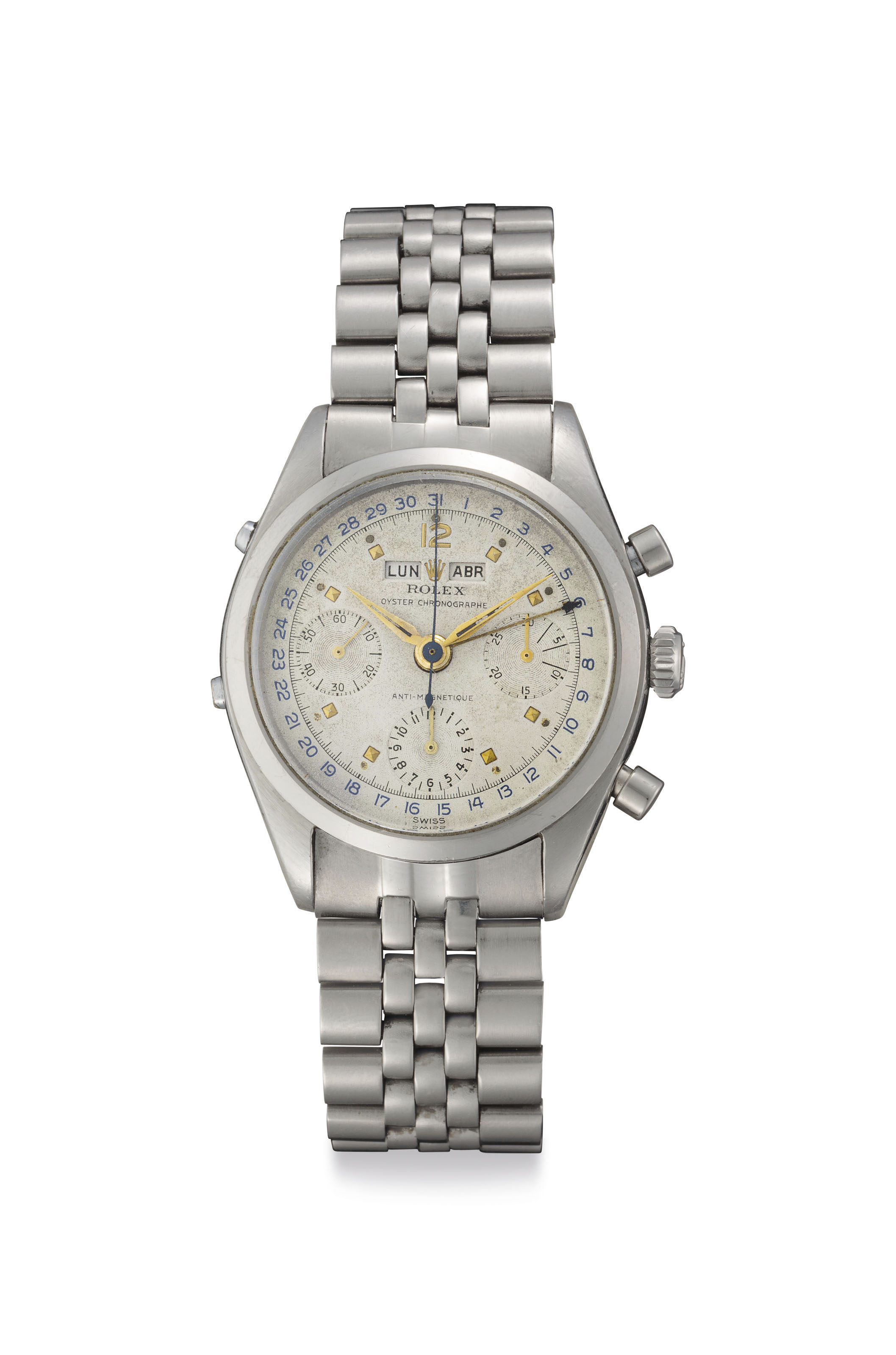 Rolex. A Very Fine and Rare Stainless Steel Triple Calendar Chronograph Wristwatch with Bracelet