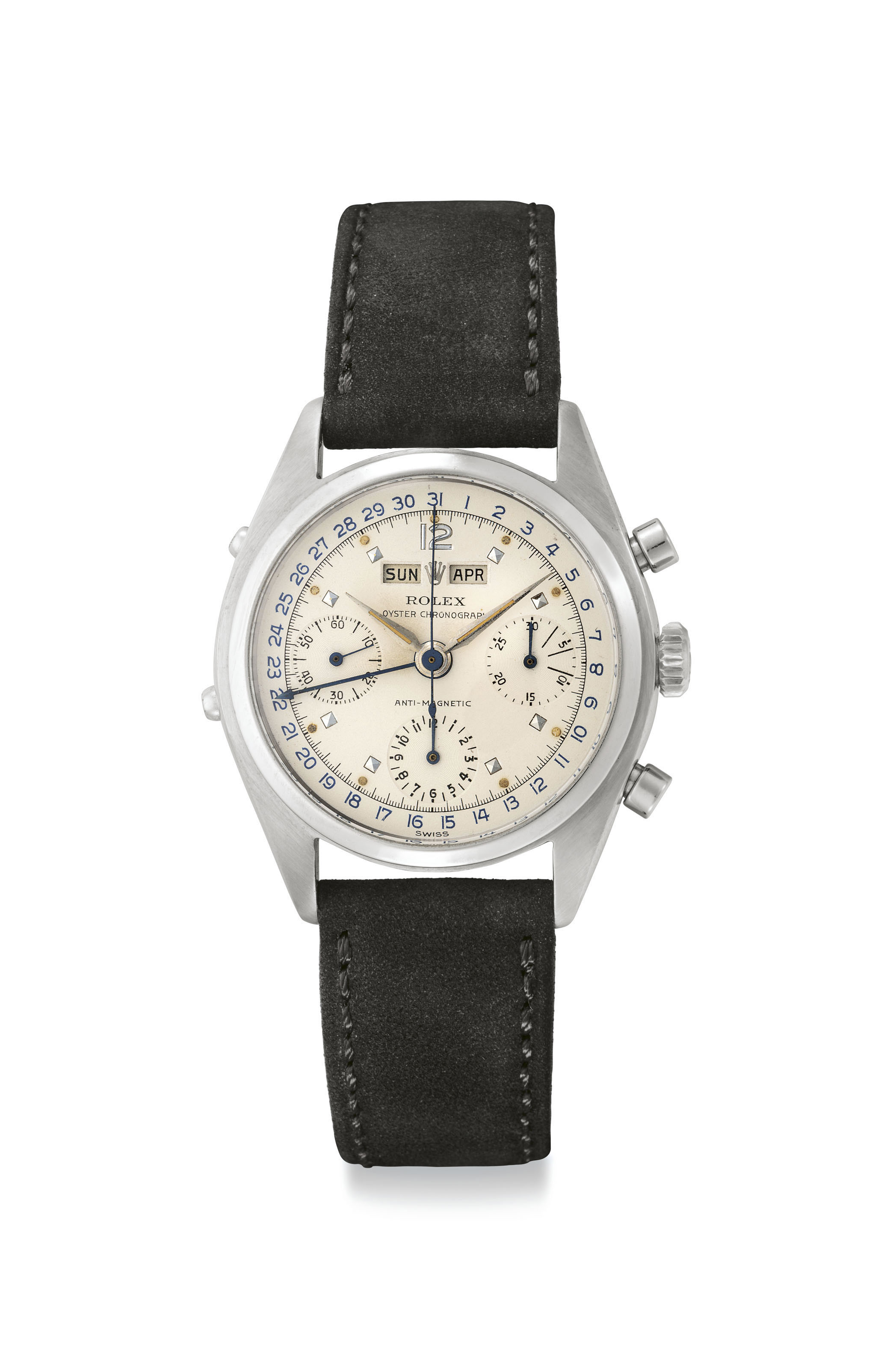 Rolex. A Very Fine and Rare Stainless Steel Triple Calendar Chronograph Wristwatch