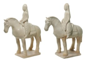 TWO STRAW-GLAZED FIGURES OF EQUESTRIANS