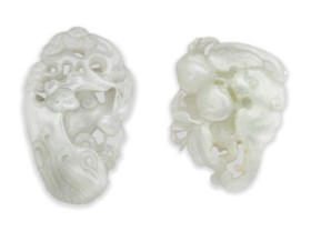 TWO SMALL WHITE JADE OPENWORK CARVINGS