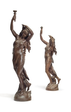 TWO FRENCH BRONZE-PAINTED CAST-IRON FIGURAL TORCHERES